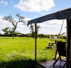 In kant-en-klare tenten kamperen op de boerderij.