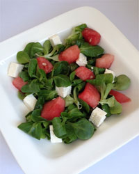 Gezonde salade met watermeloen en olijven.