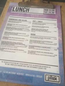 Lunchkaart Pllek