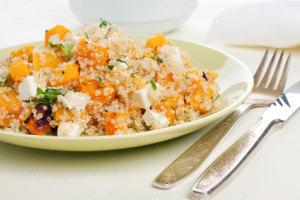 Pompoen recept met quinoa en feta