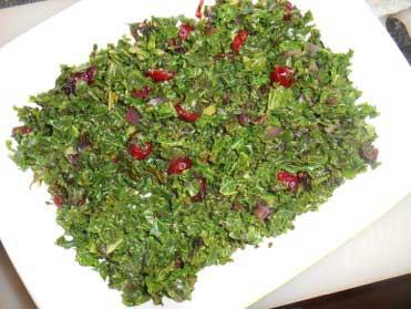 Boerenkool uit de oven met cranberry's