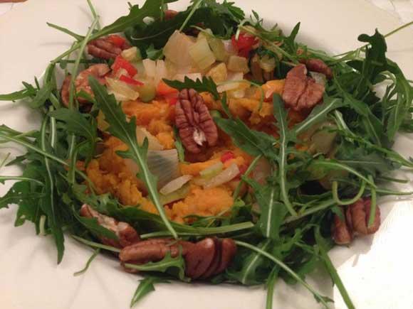 Vegetarische stamppot met zoete aardappel