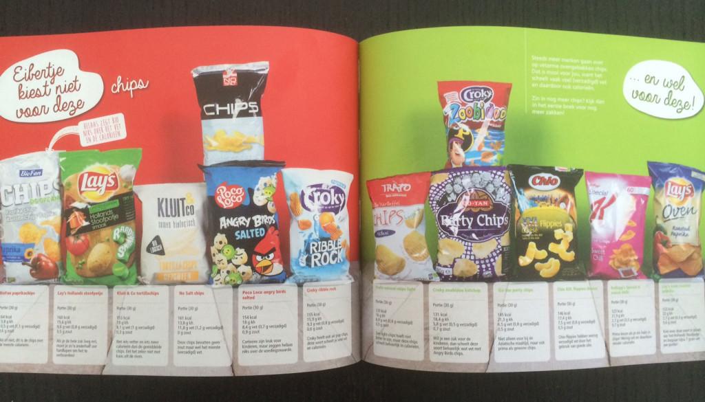 Gezonde keuze chips in supermarkt