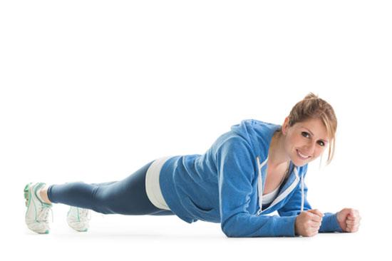 Een plank als fitnessoefening,. Goed voor je gezondheid!