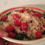 Recept voor een frisse pasta met zalm en tomaatjes