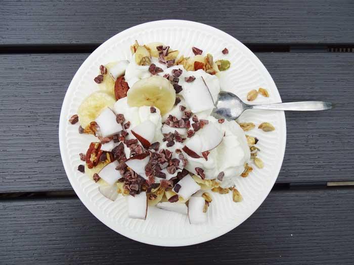 Ontbijtrecept met banaan en kokos