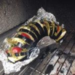 Gevulde aubergine van barbecue of uit de oven