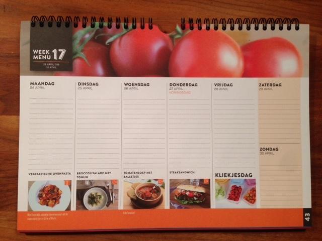 Dagkalender 2017 elke dag een gezond menu met boodschappenlijst