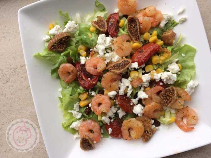 Maaltijdsalade met garnalen en vijgen, gezond recept