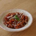 Snelle pasta met aubergine en tomaat