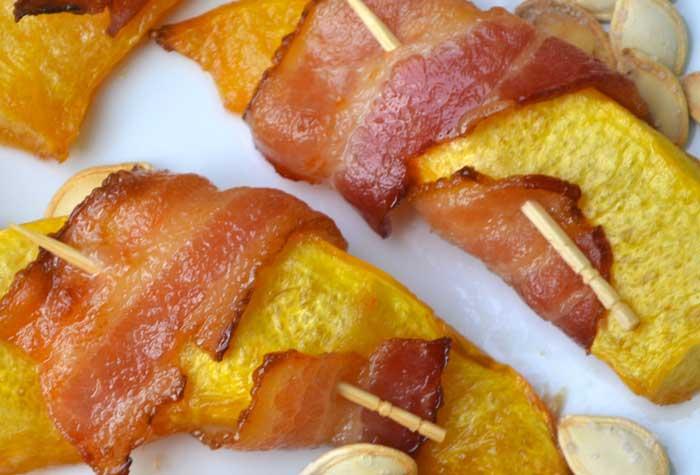 Pompoen-bacon snack, een verrassend tussendoortje