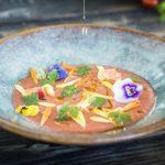 Recept met bloemen, gazpacho