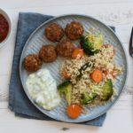 Gebakken rijst met Falafel (vegan)