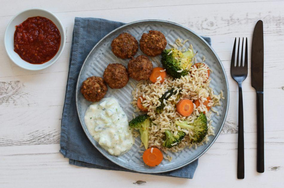 Gebakken rijst met Falafel, vegan recept