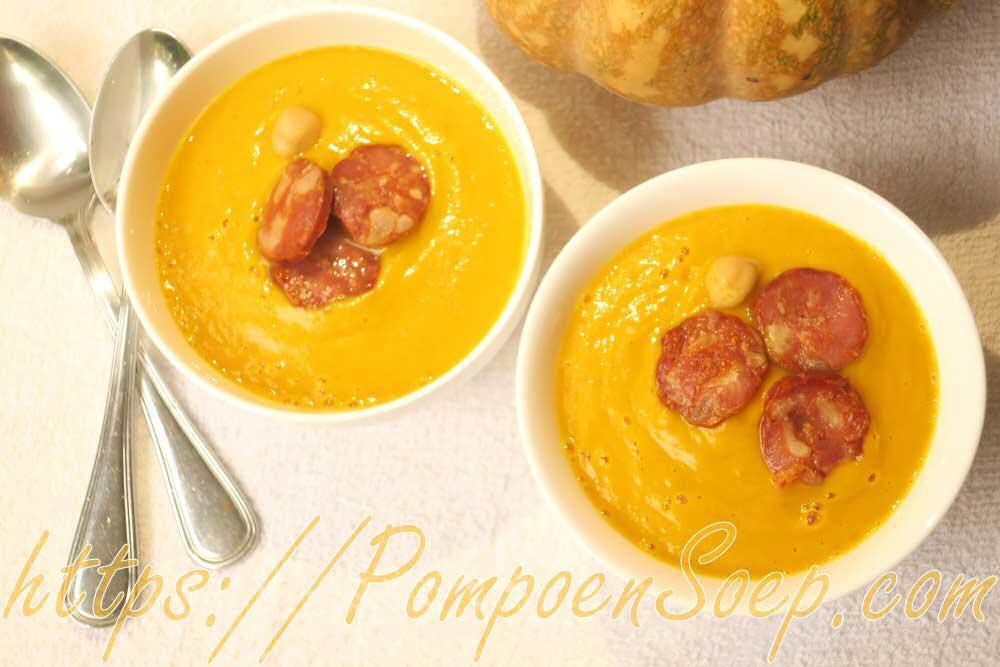 Recept voor pompoensoep met chorizo