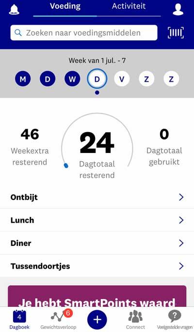 De app van WW (Weight Watchers)