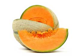 Oranje voeding, de cantaloupe, de oranje meloen!