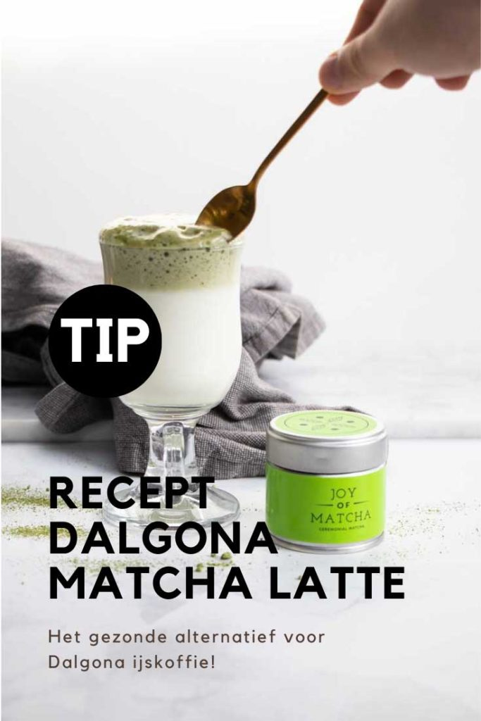 Bewaar het Dalgona Matcha Latte recept op Pinterest