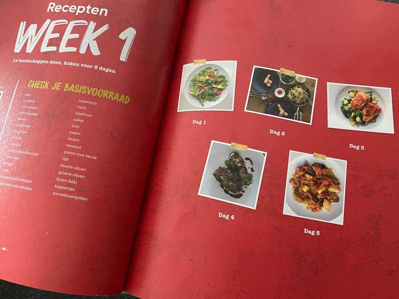 Kookboek met weekmenu's, recepten en boodschappenlijstjes