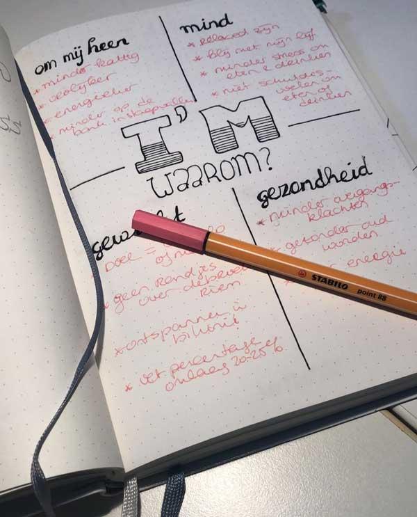 Bulletjournal over online yoga en voedingsprogramma Isa Hoes en Medina Schuurman