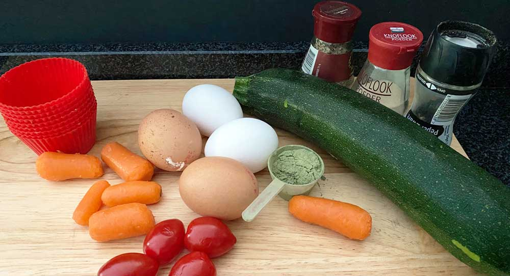 Ingrediënten muffins met greenjuicepoeder