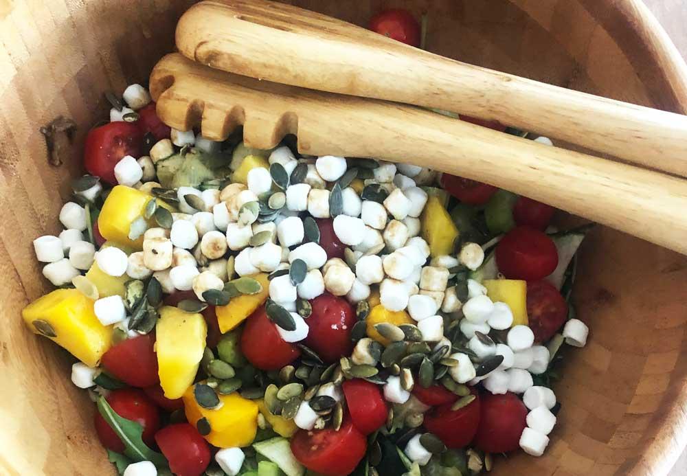 Recept voor superlekkere salade met gegrilde groenten en geitenkaas.