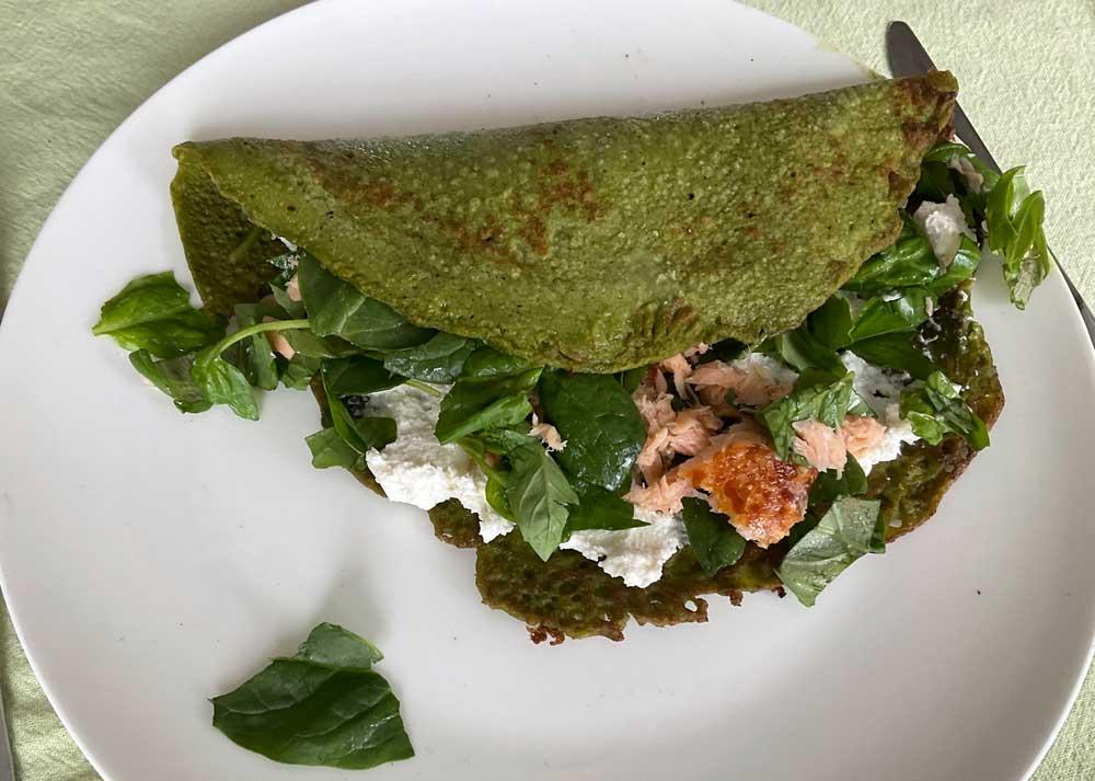Recept glutenvrije spinaziepannenkoeken met zalm