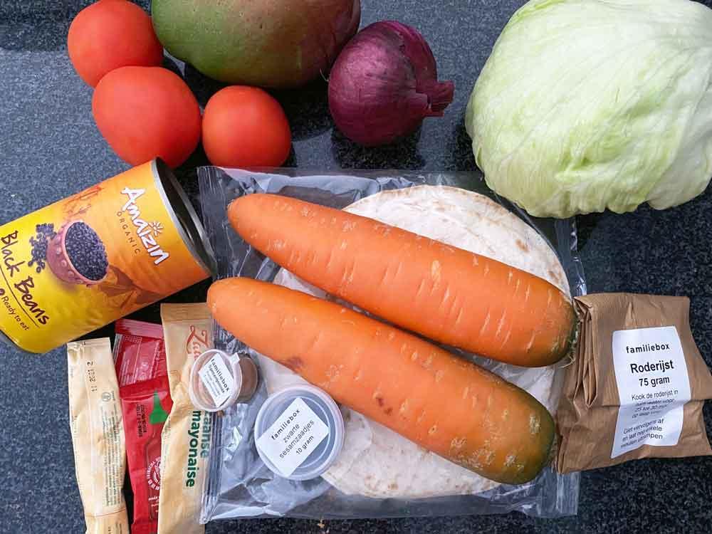 Ingrediënten maaltijd uit De Familiebox, lees onze ervaring