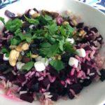 Recept lunchsalade met bietjes en rijst. Makkelijk en goed vullend!
